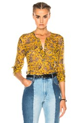 Etoile Isabel Marant Boden Printed Chiffon Silk Top In Yellow Floral Yellow Floral