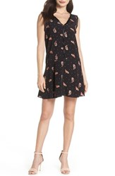 Knot Sisters Tuesday Feather Print Dress Black Feather Dot
