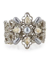 Oscar De La Renta Filigree Cuff Bracelet With Crystals And Pearly Beads Silver