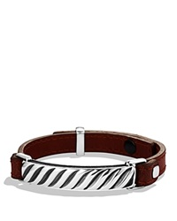 David Yurman Modern Cable Id Bracelet In Camel Leather Silver Brown