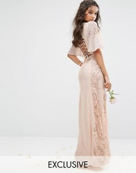 Maya Embellished Maxi Dress With Fluted Sleeve With Lace Up Back Nude Pink