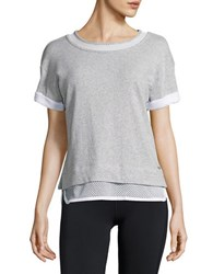 Marc New York Everyday Mesh Drop Shoulder Blouse Heather Grey