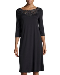 Hanro Isabeau Lace Trimmed Gown Black