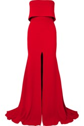 Alex Perry Strapless Split Front Crepe Gown Red