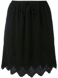 Iro Embroidered Hem Skirt Women Polyester Viscose 38 Black