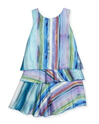 Zoe Sleeveless Striped Layered Shift Dress Blue Size 7 16