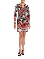 Hale Bob Long Sleeve Multi Pattern Shift Dress Red