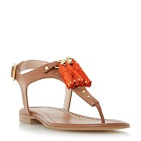 Dune Laviniya Toe Post Tassel Flat Sandals Tan