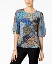 Msk Rhinestone Flutter Sleeve Evening Blouse Blue Orange