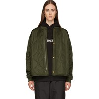 6397 Green Quilted Nylon Bomber Jacket
