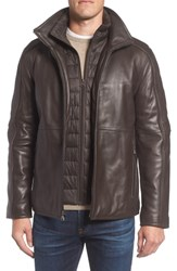 Marc New York Hartz Leather Jacket With Quilted Bib Espresso