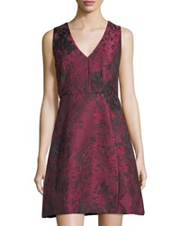 Jax Floral Jacquard Fit And Flare Dress Red Black