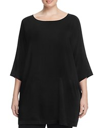 Eileen Fisher Plus Mixed Media Silk Tunic Black