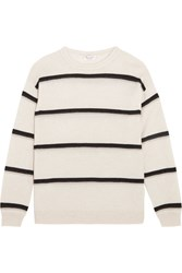Brunello Cucinelli Embellished Striped Cashmere Sweater Beige
