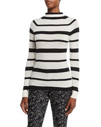 Lela Rose Striped Funnel Neck Sweater Black Ivory Black Ivory