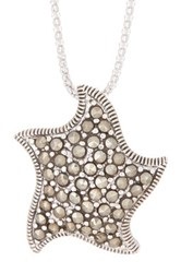 Savvy Cie Sterling Silver Pave Marcasite Star Pendant Necklace Metallic