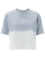 Rag And Bone Light Blue Cotton Grimsby Crop Top Multi