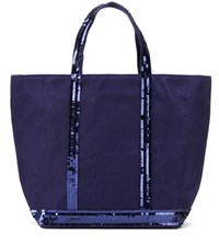 Vanessa Bruno Cabas Moyen Embellished Canvas Shopper Blue