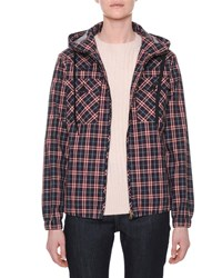 Tomas Maier Hooded Zip Front Check Bomber Jacket Multi