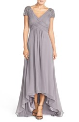 Women's Eliza J Beaded Shoulder Pleated Chiffon Gown