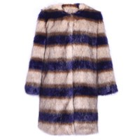 Ardent And Co Blue Stripes Faux Mink Fur Coat