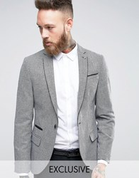 Noose And Monkey Super Skinny Blazer In Pow Check With Piping Black