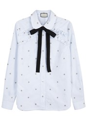 Gucci Checked Bee Embroidered Cotton Shirt