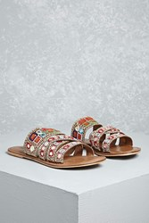 Forever 21 Mia Beaded Strappy Slides Brown Multi