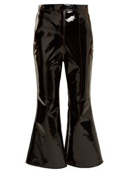 Ellery Outlaw Kick Flare Cropped Patent Trousers Black