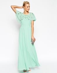Asos Embellished Flutter Sleeve Maxi Dress Mint