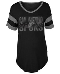 5Th And Ocean Women's San Antonio Spurs Hang Time Glitter T Shirt Black