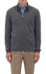 S.Moritz Men's Reversible Zip Front Wool Sweater Grey