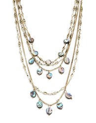 Noir Mother Of Pearl Layered Necklace Goldtone