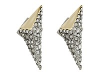 Alexis Bittar Two Tone Crystal Encrusted Pyramid Post Earrings Matte Rhodium High Shine 10K Gold Earring Silver