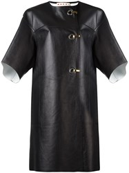 Marni Hook And Eye Leather Coat Black