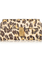 Chloe Drew Leopard Print Textured Leather Continental Wallet