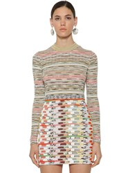 Missoni Striped Crewneck Wool Ribbed Knit Top Multicolor