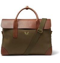 Bennett Winch Twill And Full Grain Leather Briefcase Green
