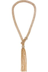 Lanvin Gold Tone Crystal Necklace One Size
