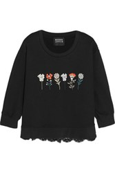 Markus Lupfer Embroidered Cotton Terry And Lace Sweatshirt Black