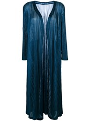 Issey Miyake Pleats Please By Pleated Long Coat Women Polyester Iv Blue