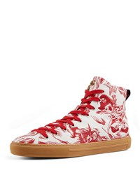 Gucci Sea Storm Print High Top Sneaker Red White Red White