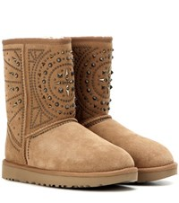 Ugg Fiore Deco Studs Suede Ankle Boots Brown
