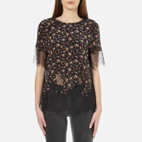 Mcq By Alexander Mcqueen Women's Fluid T Shirt With Lace Vintage Floral Multi