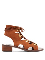See By Chloe Lace Up Block Heel Suede Sandals Tan