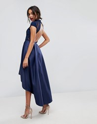 Chi Chi London High Low Midi Dress With Open Back Navy