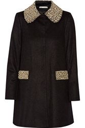 Alice Olivia Iris Embellished Wool And Cashmere Blend Coat Black