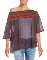 Free People Patterned Poncho Top Purple