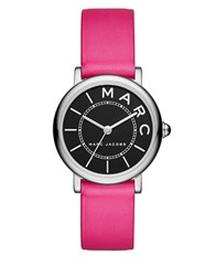 Marc Jacobs Roxy Stainless Steel And Leather Black Satin Dial Strap Watch Pink