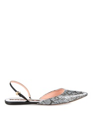 Rochas Water Snake And Leather Point Toe Flats